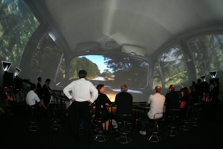 Inside Giant Rugby Ball 360 Projections Car